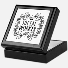 Hand-Drawn Wreath Social Worker Keepsake Box
