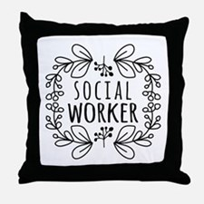 Hand-Drawn Wreath Social Worker Throw Pillow
