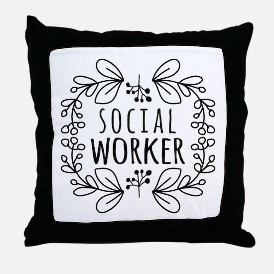 Hand-Drawn Wreath Social Worker Throw Pillow