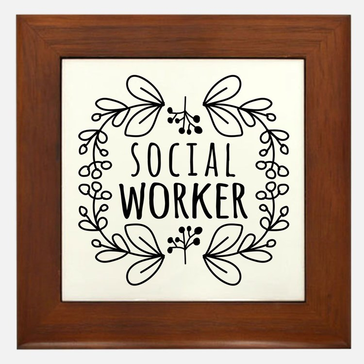 Hand-Drawn Wreath Social Worker Framed Tile