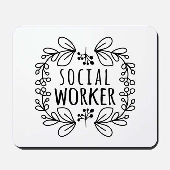 Hand-Drawn Wreath Social Worker Mousepad