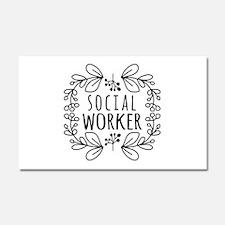 Hand-Drawn Wreath Social Worker Car Magnet 20 x 12