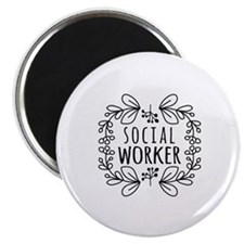 Hand-Drawn Wreath Social Worker Magnet