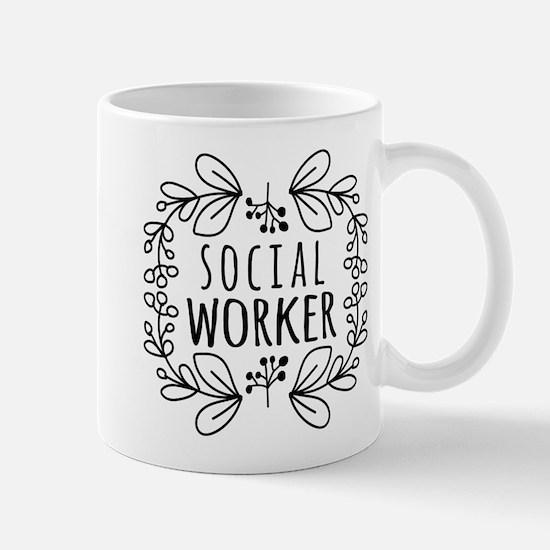 Hand-Drawn Wreath Social Worker Mug