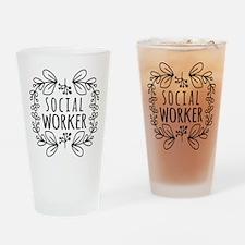 Hand-Drawn Wreath Social Worker Drinking Glass