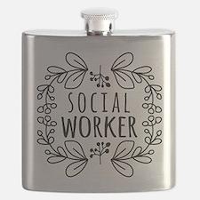 Hand-Drawn Wreath Social Worker Flask