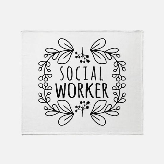 Hand-Drawn Wreath Social Worker Throw Blanket