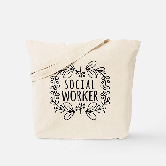 Hand-Drawn Wreath Social Worker Tote Bag
