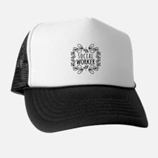 Hand-Drawn Wreath Social Worker Trucker Hat