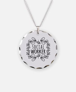 Hand-Drawn Wreath Social Wor Necklace