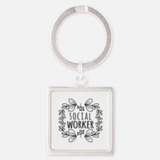 Hand-Drawn Wreath Social Worker Square Keychain