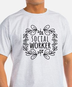 Hand-Drawn Wreath Social Worker T-Shirt
