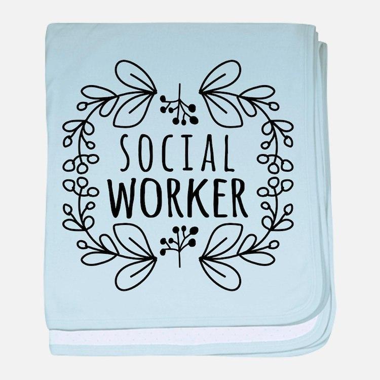 Hand-Drawn Wreath Social Worker baby blanket