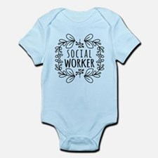 Hand-Drawn Wreath Social Worker Onesie
