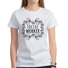 Hand-Drawn Wreath Social Worker Tee
