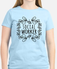Hand-Drawn Wreath Social Wor T-Shirt