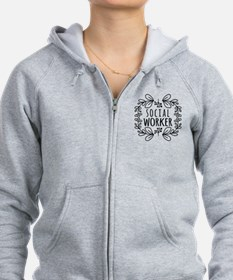 Hand-Drawn Wreath Social Worker Zip Hoodie