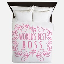 Cute Pink World's Best Boss Queen Duvet