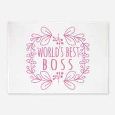 Cute Pink World's Best Boss 5'x7'Area Rug