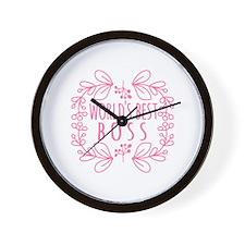 Cute Pink World's Best Boss Wall Clock