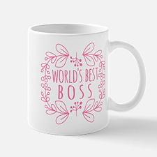 Cute Pink World's Best Boss Small Mugs
