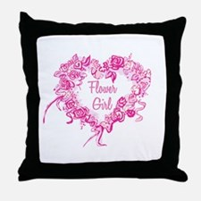 BP Pink Heart Flower Girl Throw Pillow