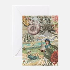 Vintage Victorian Beach Retro Summer Greeting Card