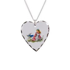 Alice and the White Rabbit Necklace Heart Charm