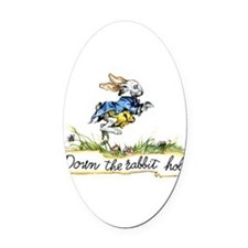 Alice and the White Rabbit Oval Car Magnet
