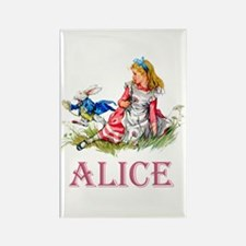 Alice and the White Rabbit Rectangle Magnet