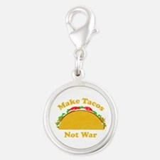 Make Tacos Not War Silver Round Charm