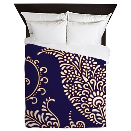 Navy Blue Paisley Floral Print Pattern Queen Duvet By