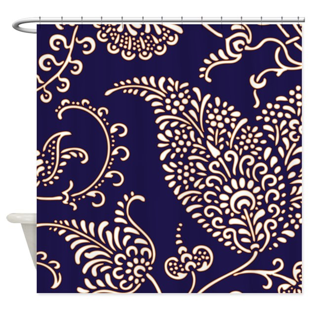 Navy Paisley Rug: Navy Blue Paisley Floral Print Patt Shower Curtain By