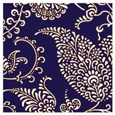 navy blue paisley floral print pattern preppy holl Poster