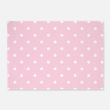 Baby Pink & White Polka Dots 5'x7'Area Rug