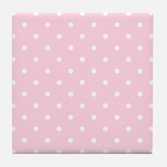 Pink, Baby: Polka Dots Pattern (Small Tile Coaster