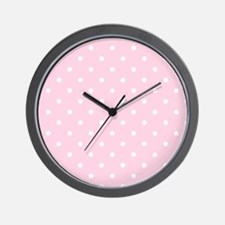 Pink, Baby: Polka Dots Pattern (Small) Wall Clock