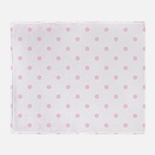 White & Baby Pink Polka Dots Throw Blanket