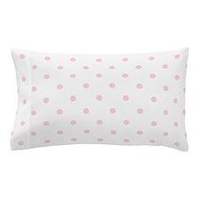 White & Baby Pink Polka Dots Pillow Case