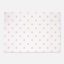 White & Baby Pink Polka Dots 5'x7'Area Rug
