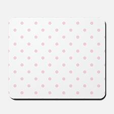 White & Baby Pink Polka Dots Mousepad