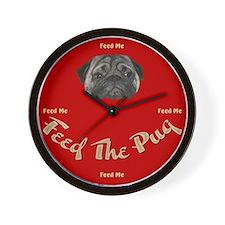 Feed The Pug Wall Clock
