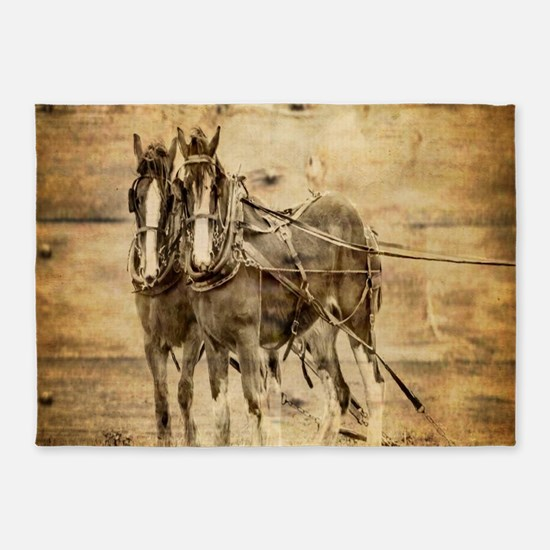 western country farm horse 5'x7'Area Rug