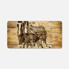 western country farm horse Aluminum License Plate