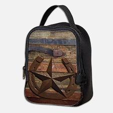 western horseshoe texas star Neoprene Lunch Bag