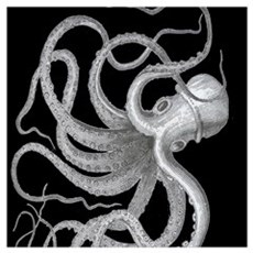 vintage octopus kraken sea creature nautical steam Poster