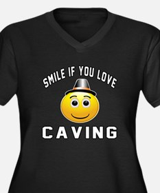 Caving Cool Women's Plus Size V-Neck Dark T-Shirt