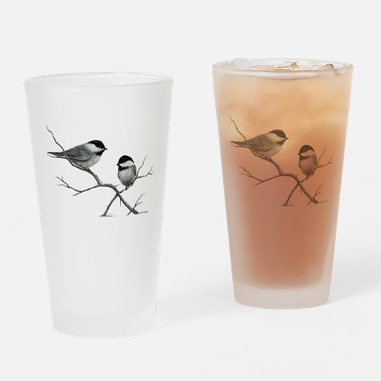chickadee song bird Drinking Glass