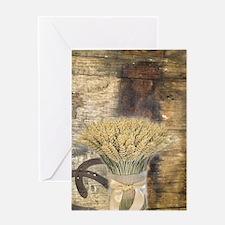 barn wood wheat horseshoe Greeting Cards
