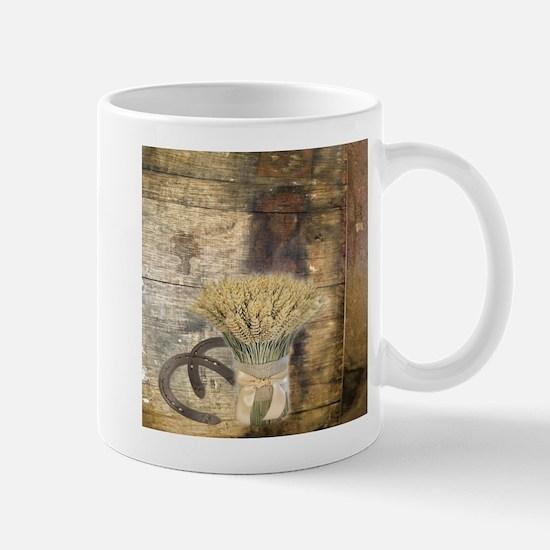 barn wood wheat horseshoe Mugs